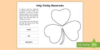 Holy Trinity Shamrock Activity Sheet - CfE Catholic Christianity, prayers, mass responses, holy trinity, ,worksheet