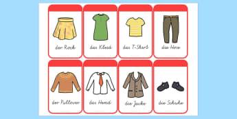 Kleider Wort und Bildkarten