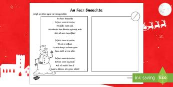 An Fear Sneachta Read and Draw Activity Sheet - Irish, Gaeilge, Christmas, Nollag, snowman, fear sneachta, read and draw, léigh agus tarraing, work