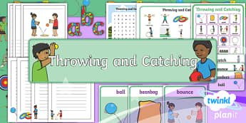 PlanIt Year 1 Games Throwing and Catching Display Pack - Games, Throwing and Catching, ball skills, display, headings, banner, ks1, y1, year 1