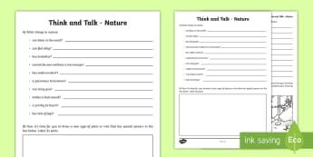 Think and Talk Nature Activity Sheet-Irish - Oral Language Activity Sheets,talk and discussion,listening skills,talk about the picture, nature,Ir
