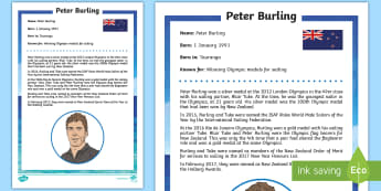 Peter Burling Fact Sheet  - Sailing, America's Cup, Racing, Peter Burling, Team New Zealand, Emirates team new zealand, bermuda