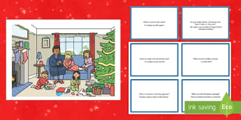 Christmas Morning Scene and Question Cards English/Polish - Christmas Morning Scene and Question Cards - christmas morning, scene, questions, cards,chritmas, ch