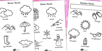 Winter Colouring Pages Temperate - colour, motor skills, seasons