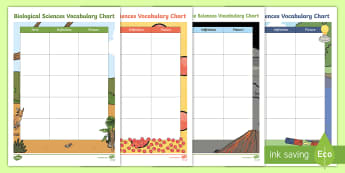 Science Vocabulary Chart Activity Sheets - Science dictionary, science words, recording sheet, science journal, Worksheets, science expressions