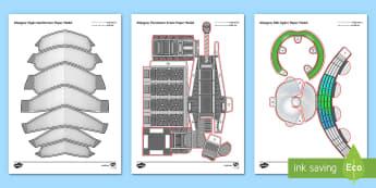 3D Glasgow Buildings Paper Craft - SSE Hydro, finnieston crane, clyde auditorium, glasgow, buildings, landmarks, display