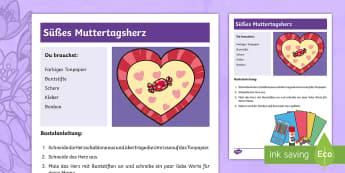 Anleitung Süßes Muttertagsherz Anleitung - Muttertag, Geschenk, Herz, basteln, mother's day, present, heart, craft,German