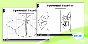 PlanIt Y4 Properties of Shapes Symmetrical Butterflies Home Learning - Properties of Shapes, symmetry, 2D shapes