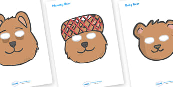 Peace at Last Role Play Masks - Peace at Last, resources,  Jill Murphy, Large family, Mr Bear, Mrs Bear, Baby Bear, sleep, story, story book, story book resources, story sequencing, story resources, role play mask, role play