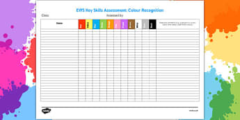 EYFS Key Skills Assessment Colour Recognition - eyfs, key skills