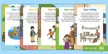 Father's Day Card Insert Poem Pack - poems, poetry, verse, Rhyme, song