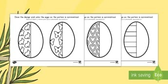 Easter Egg Symmetry Activity Sheets US English/Spanish (Latin) - Easter Egg Symmetry Worksheets - symmetry, sheets, symmetry sheets, easter egg, sysmmetry activity,