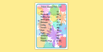 Editable Paint Shop Role Play Price List - editable, paint shop, role play, price list