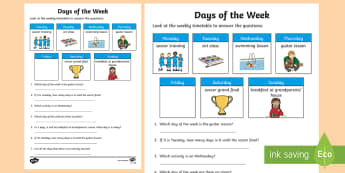 Days of the Week Timetable Activity Sheet - Mathematics, Year 1,  Measurement and Geometry,  Using units of measurement, ACMMG021, days of the w