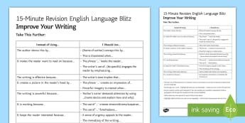 15-Minute Language Blitz:  Improve your Phrasing! Guide - Secondary - 15 Minute Revision Activities, phrase, alternative, expand vocabulary