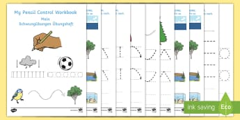 Line Handwriting Activity Sheets English/German - Line Handwriting Worksheets - education, home school, child development, children activities, free,