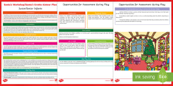 ROI Santa's Workshop Aistear Planning Template - Aistear, Infants, English Oral Language, School, The Garda Station, The Hairdressers, The Airport, T