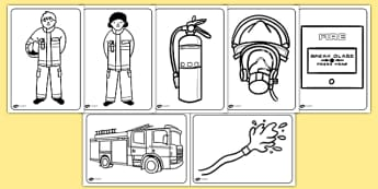 Fire Service Colouring Pages - fire, fire service, colouring