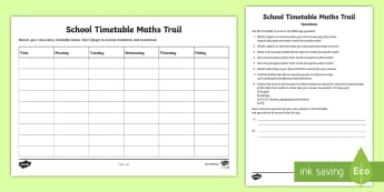 School Timetable Maths Trail Activity Sheet - maths, measures, time, trail, timetable, interpreting, data, worksheet, activity sheet,Irish