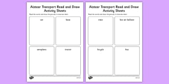 Aistear Transport Read and Draw Activity Sheets Differentiated - roi, irish, republic of ireland, aistear, transport, worksheet