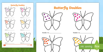 Butterfly Doubles to 20 Activity Sheet - worksheet, doubling, doubles, doubles to twenty, doubles to 20