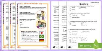 KS1 Mother's Day Differentiated Reading Comprehension Activity - mother's day, Mother's Day, mothers day, Mothers day, Mum, Mummy, Mother, Develop pleasure in read