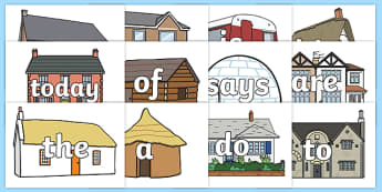 Year 1 Common Exception Words on Houses and Homes Display Cut Outs