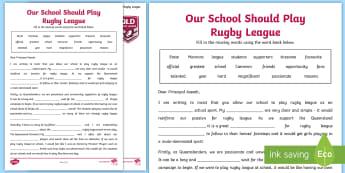Persuasive Letter Cloze Activity Sheet - Australia, Australian, English Curriculum, State of Origin, missing words,Australia, worksheet