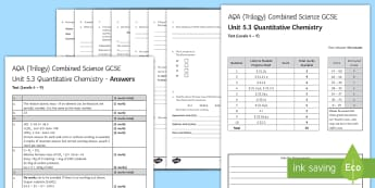 AQA (Trilogy) Unit 5.3 Quantitative Chemistry Test - KS4 Assessment, Test, quantitative chemistry, formula mass, percentage, moles.