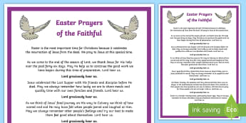 Easter Prayers of the Faithful Print-Out - prayers of the faithful, Roman Catholic, religion, prayer service, assembly, print-out, Easter,Irish