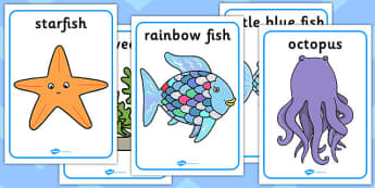 Movement Activity Picture Cards to Support Teaching on The Rainbow Fish - rainbow fish