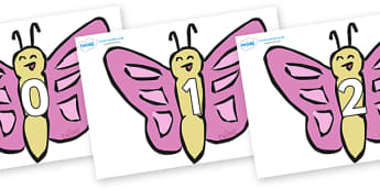 Numbers 0-100 on Butterflies - 0-100, foundation stage numeracy, Number recognition, Number flashcards, counting, number frieze, Display numbers, number posters