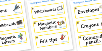 Sunflower Themed Editable Writing Area Resource Labels - Themed writing resource labels, literacy area labels, writing area resources, Label template, Resource Label, Name Labels, Editable Labels, Drawer Labels, KS1 Labels, Foundation Labels, Foundat