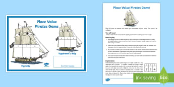 Place Value Pirates Game - Maths, KS2, Place Value, Pirates, tens, ones, hundred, thousands, units, partition, partitioning, re
