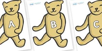 A-Z Alphabet on Old Teddy Bears - A-Z, A4, display, Alphabet frieze, Display letters, Letter posters, A-Z letters, Alphabet flashcards