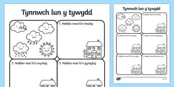 Siart 'Sut mae'r Tywydd Heddiw?' Calendr Arddangosfa-Welsh