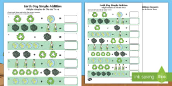 Earth Day Simple Addition Activity Sheet English/Portuguese - Earth Day, simple addition, Pre-K adding, Kindergarten adding, addition skills , adding, addition, w