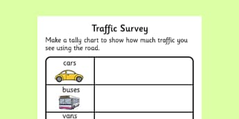 Traffic Survey Activity Sheet - traffic survey, survey, how much traffic, car, bus, van, worksheet, sheet, lorries, motorbike, bicycle