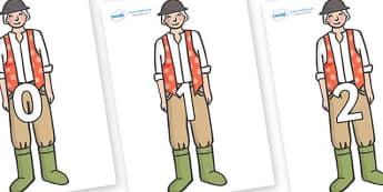 Numbers 0-50 on Farmer to Support Teaching on Pig in the Pond - 0-50, foundation stage numeracy, Number recognition, Number flashcards, counting, number frieze, Display numbers, number posters