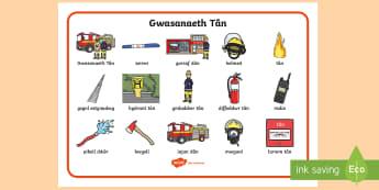 Mat Geiriau Gwasanaeth Tân - Wythnos Genedlaethol Diogelwch Tân, National School's Fire Safety Week, fire, tan, tân, fireman,