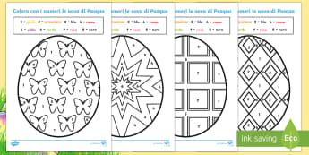 Colora le Uova di Pasqua con i Numeri Attività - colora, le uova, di, pasqua, pasquale, cioccolata, colorare, colori, italiano, italian