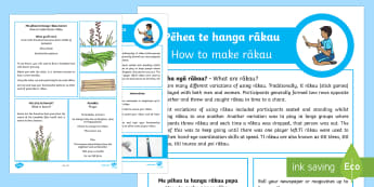 Rākau Activity English/Te Reo Maori - rākau, stick, harakeke, flax, korari