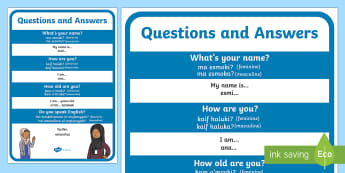 Questions and Answers A4 Display Poster Phonetic English/Arabic - Language Packs, questions and answers, greetings, communication, Arabic phonitec,Arabic