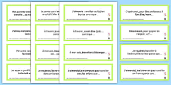 General Conversation Question Prompt Cards Jobs Career Choices and Ambitions - french, Conversation, Speaking, Questions, Jobs, Career, Ambitions, Métier, Travail, Profession, Argent, Salaire, Money, Salary, Cards, Cartes