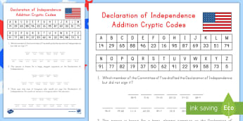 Declaration of Independence Addition Cryptic Codes Activity Sheet - Independence Day, 4th July, July 4th, Math Practice, Addition Problems, game, worksheet two digit, 2