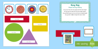 Shape Sorting Posting Busy Bag Prompt Card and Resource Pack - EYFS Sorting, mathematics, shape space measure, beginning to categorise objects according to propert