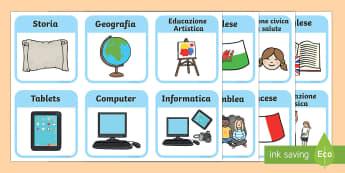 Orario Illustrato per la Scuola - orario, scolastico, attivita, scuola, italiano, italian, materie, elementari