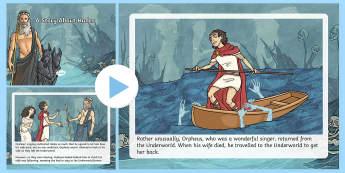 A Story About Hades PowerPoint - Request KS2, Hades, god, Underworld, Orpheus, singer, wife, greek stories, greek myths, greek gods