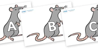 A-Z Alphabet on Rats - A-Z, A4, display, Alphabet frieze, Display letters, Letter posters, A-Z letters, Alphabet flashcards