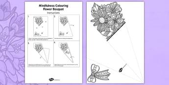 Adult Colouring Mindfulness Flower Bouquet - calm, stress relief, art, decoration, adult, colours, pattern, adult mindfulness, adult colouring